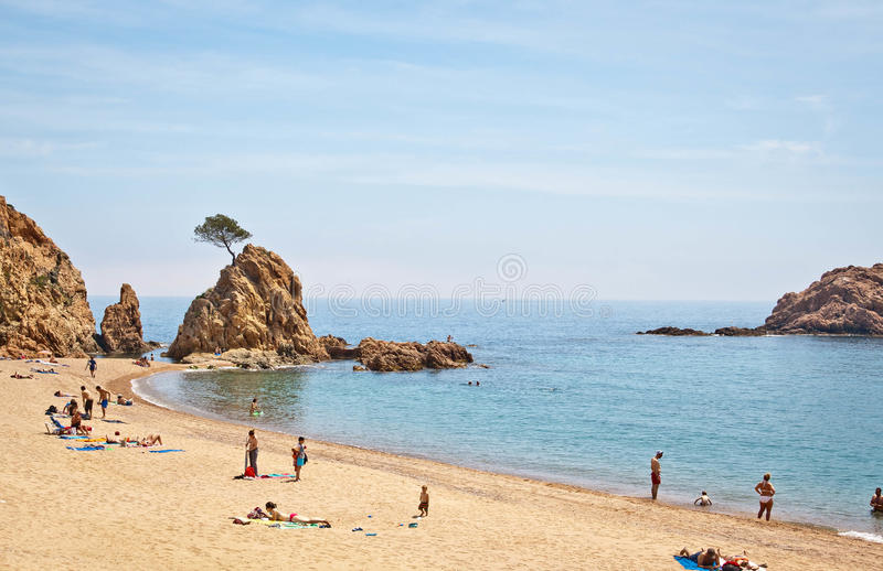 Spiaggia di Tossa de Mar, Costa Brava fotografie stock libere da diritti