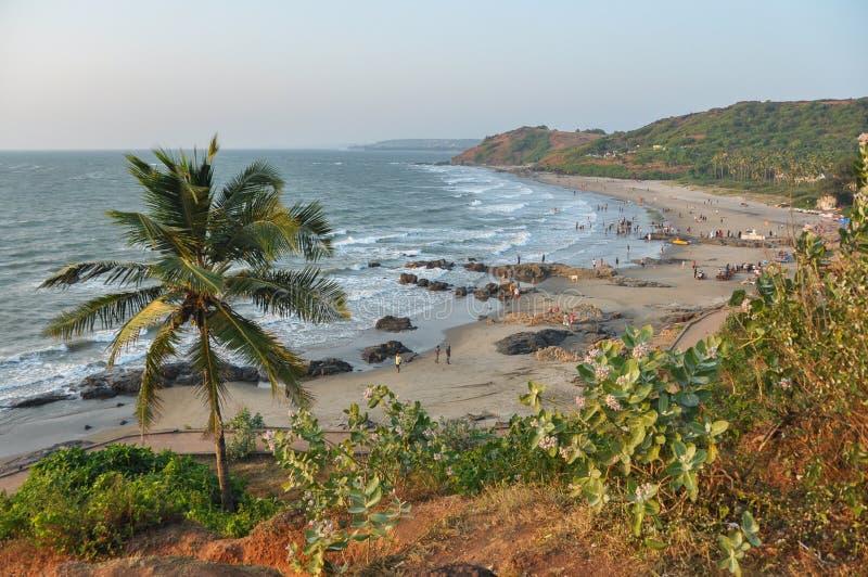 Spiaggia di Vagator in Goa immagine stock libera da diritti