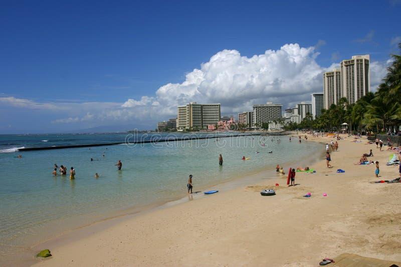 Spiaggia Di Waikiki Fotografie Stock