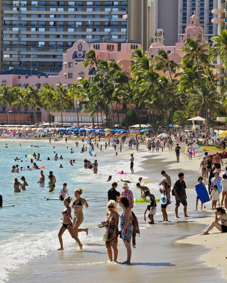 Spiaggia di Waikiki e Hawaiian reale immagini stock