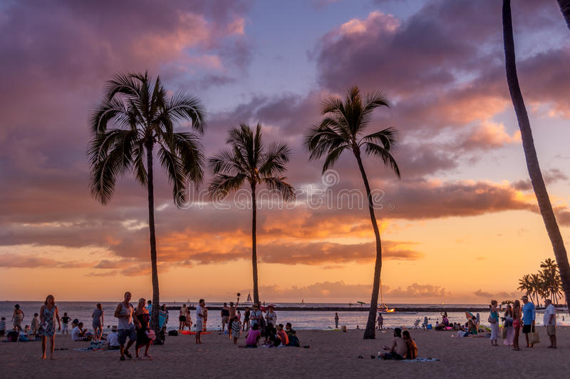 Spiaggia di Waikiki - Hawai fotografia stock libera da diritti
