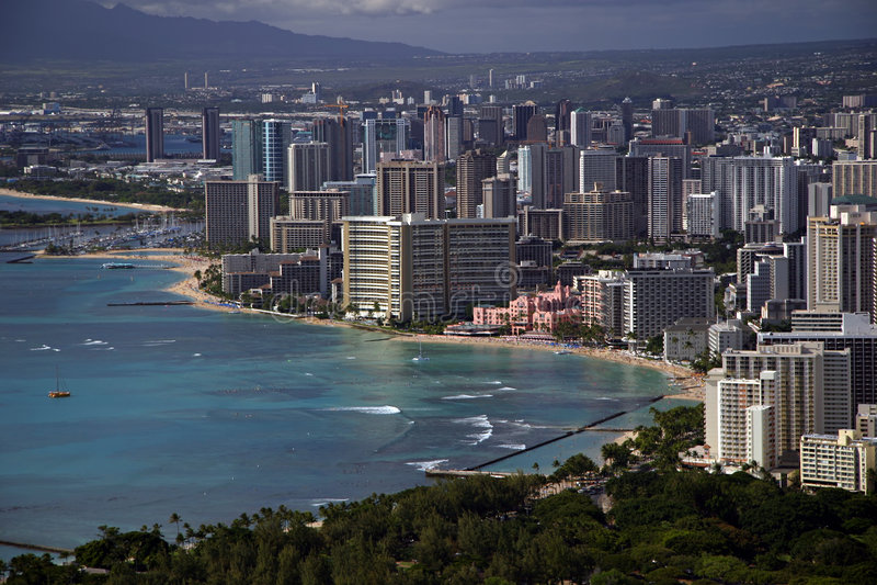 Spiaggia di Waikiki - Honolulu, Hawai fotografia stock libera da diritti