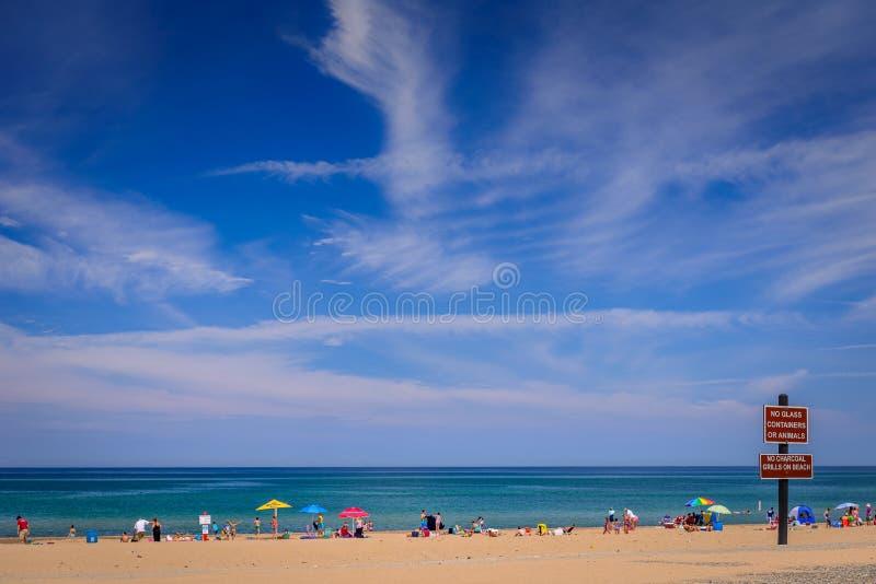 Spiaggia di Warren Dunes sul lago Michigan fotografia stock