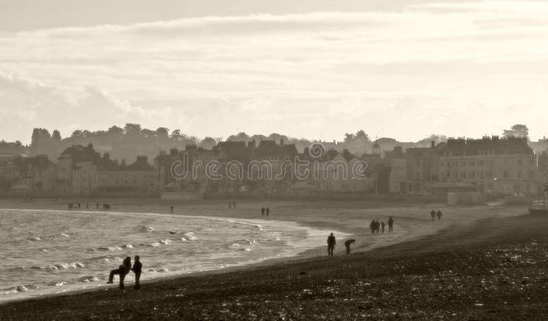 Spiaggia di Weymouth in Dorset, Inghilterra a natale fotografia stock libera da diritti