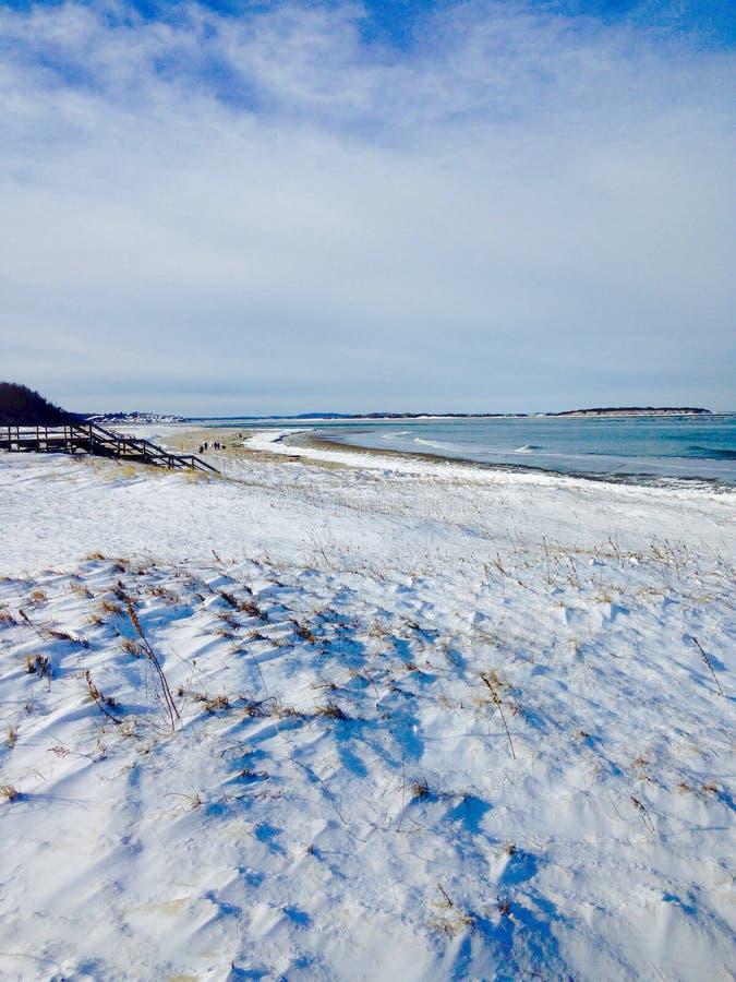 Spiaggia dopo la bufera di neve immagini stock libere da diritti