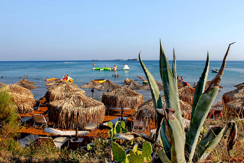 Spiaggia dorata xi nell'isola di kefalonia in Grecia immagine stock libera da diritti