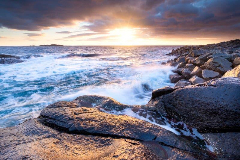 Spiaggia durante la tempesta, isole di Lofoten, Norvegia Costa ed onde di mare Alba naturale sulla spiaggia fotografia stock libera da diritti