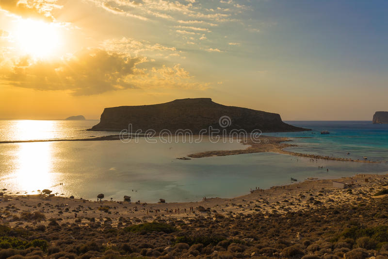Spiaggia e laguna di Balos durante il tramonto, prefettura di Chania, Creta ad ovest, Grecia fotografie stock