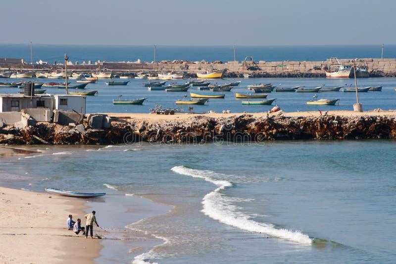 Spiaggia e pescatori di Gaza immagine stock libera da diritti