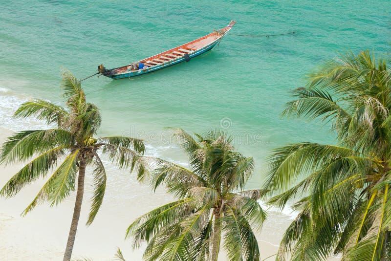 Spiaggia e rowboat tropicali fotografia stock libera da diritti