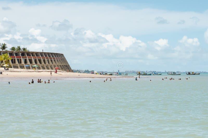 Spiaggia ed hotel di Tambau, Joao Pessoa Brazil fotografie stock