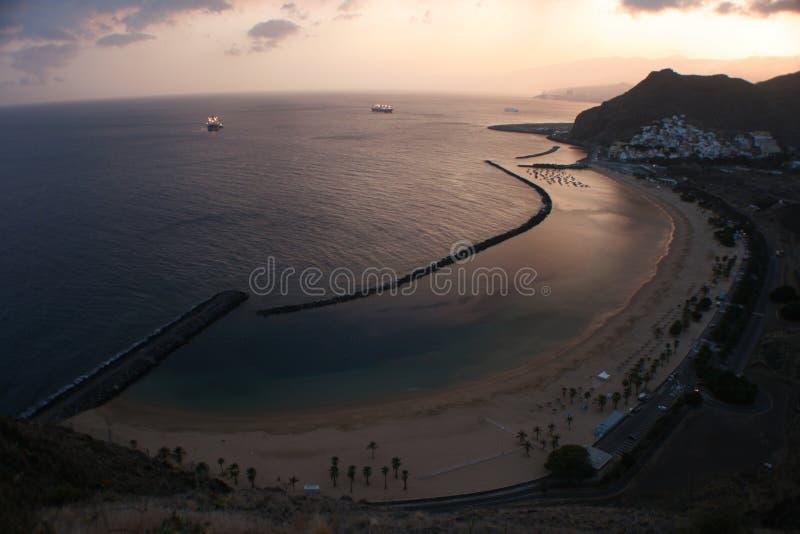 Spiaggia giallo sabbia Tenerife immagine stock libera da diritti