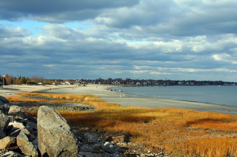 Spiaggia a Greenwich, Connecticut fotografia stock