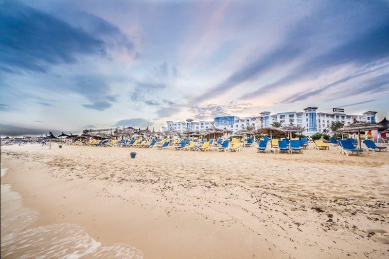 Spiaggia in Hammamet, Tunisia fotografia stock