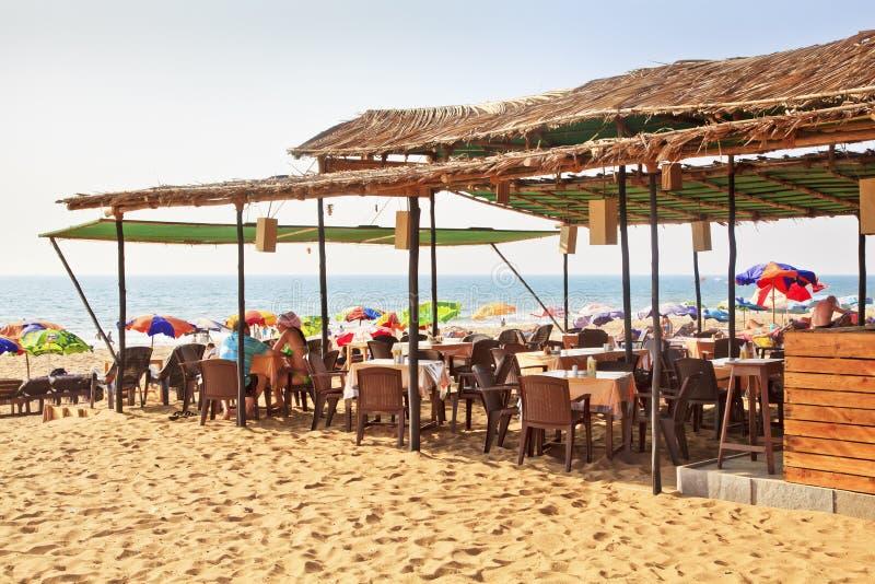 Spiaggia India di Goa della baracca della spiaggia immagini stock libere da diritti