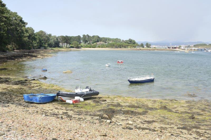 Spiaggia in isola di La Toja immagini stock