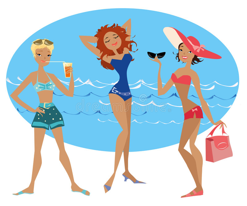 Spiaggia ladies1 royalty illustrazione gratis