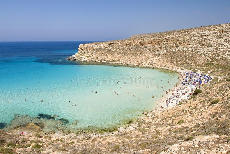 Spiaggia a Lampedusa fotografia stock