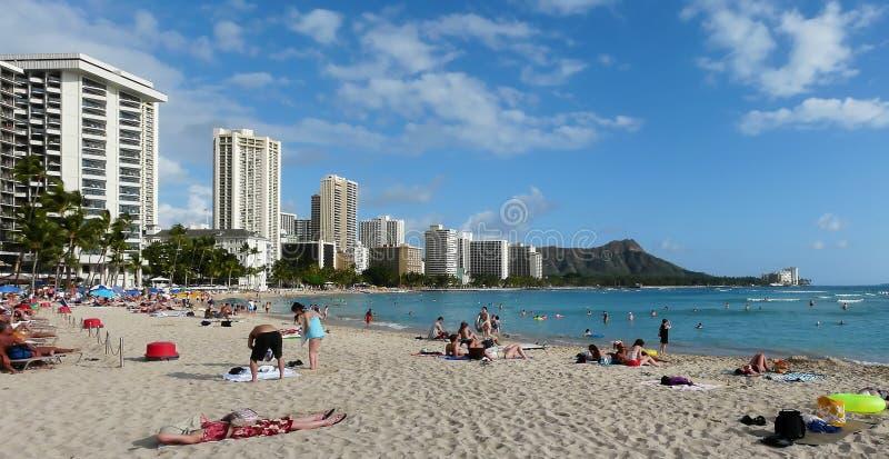 Spiaggia leggendaria di Waikiki fotografia stock libera da diritti
