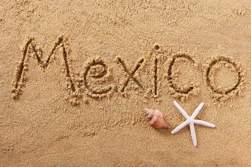 Spiaggia messicana di estate del Messico che scrive messaggio immagini stock