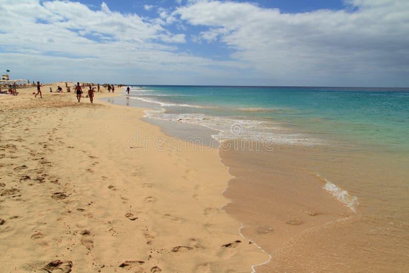Spiaggia in Morro Jable, isole Canarie di Fuerteventura fotografia stock