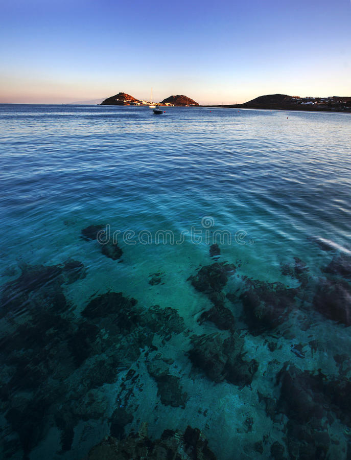 Spiaggia Mykonos, Greeece di Kalafatis fotografia stock