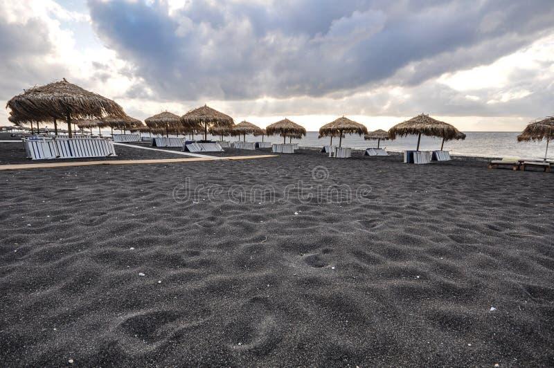 Spiaggia nera in Santorini fotografia stock libera da diritti