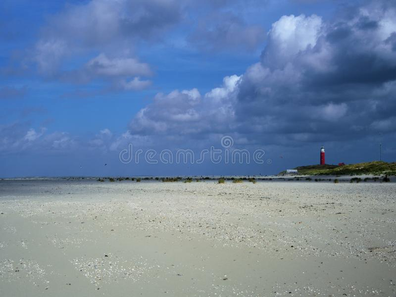 Spiaggia Paesi Bassi del texel del faro fotografia stock