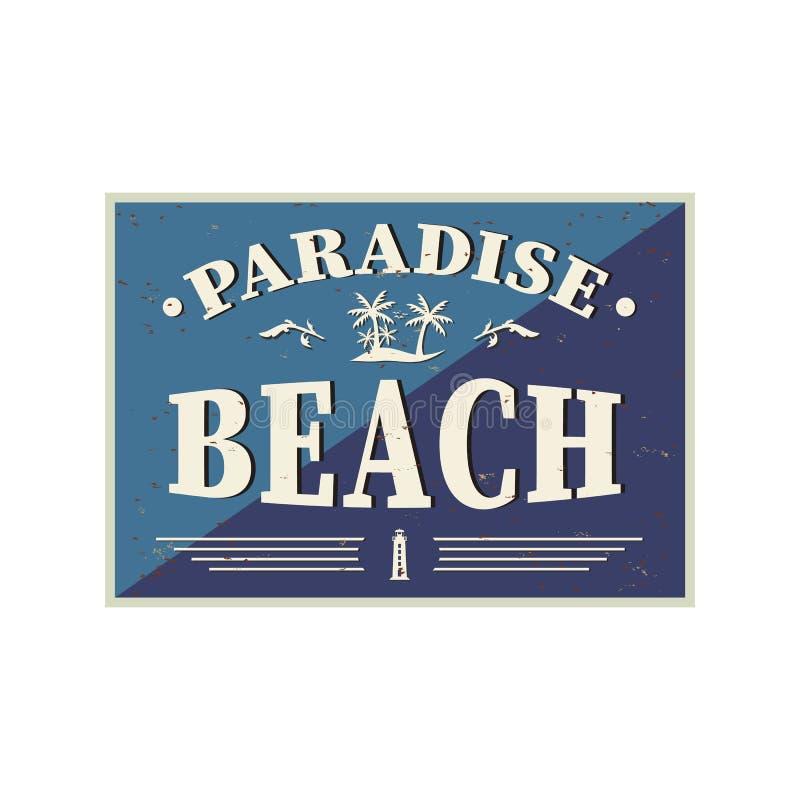 Spiaggia Paradise party flyer vintage grunge background Illustrazione vettoriale Eps10 illustrazione vettoriale