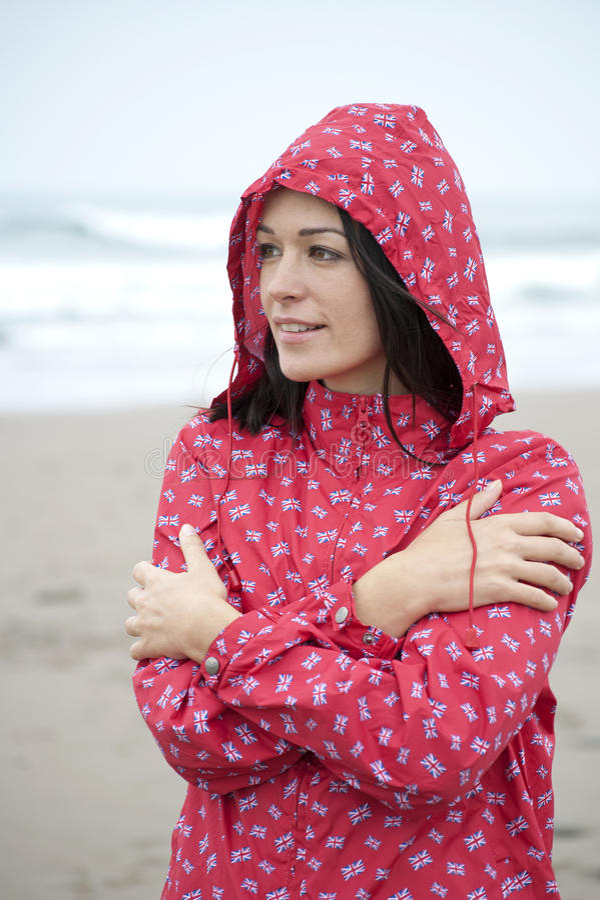 Spiaggia piovosa fotografia stock libera da diritti