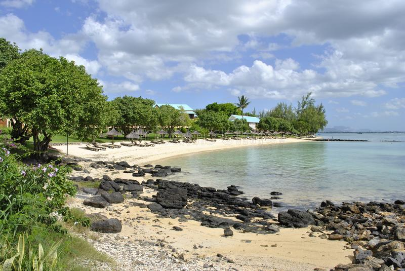 Spiaggia privata, Mauritius, ora legale fotografia stock libera da diritti