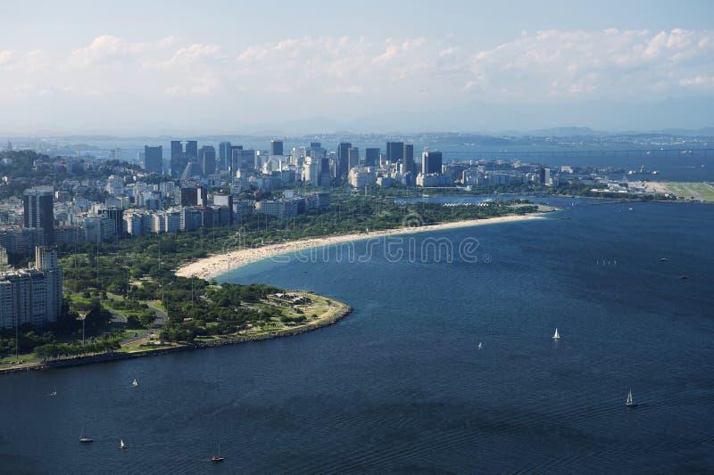 Spiaggia Rio de Janeiro Brazil Aerial View del centro di Flamengo immagine stock libera da diritti