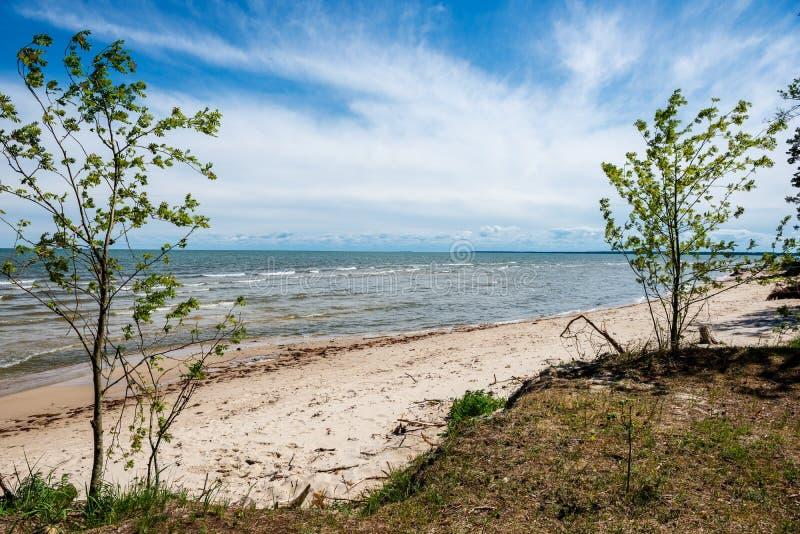 spiaggia rocciosa nell'isola Estonia di Hiiumaa immagini stock