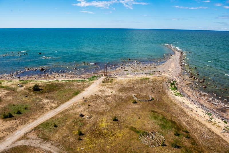 spiaggia rocciosa nell'isola Estonia di Hiiumaa fotografie stock