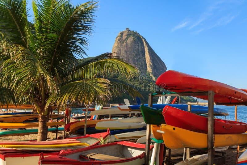 Spiaggia rossa della palma delle barche di Sugarloaf (vermelha) della Praia, Rio de Jan fotografie stock libere da diritti