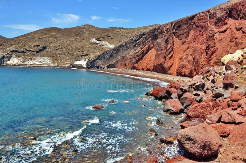 Spiaggia rossa, Santorini fotografia stock libera da diritti