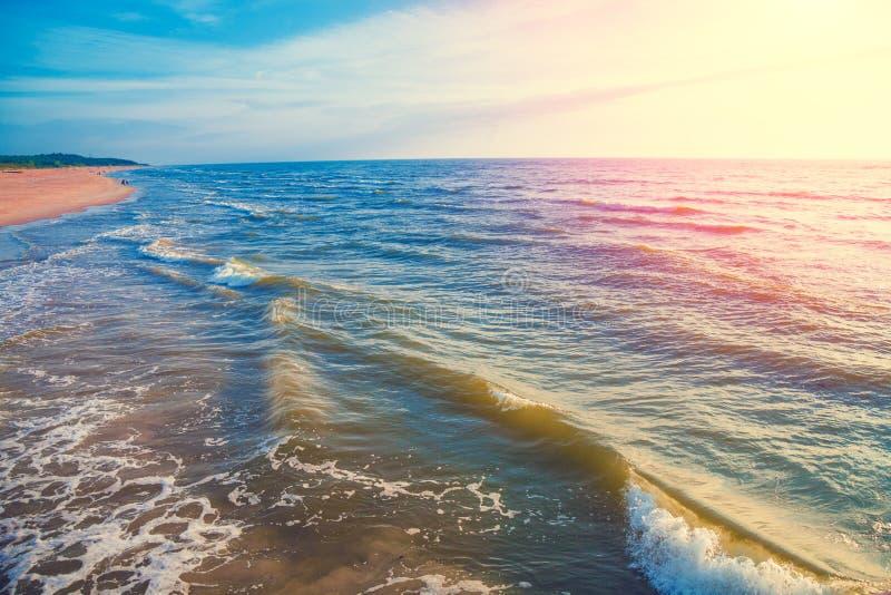 Spiaggia sabbiosa abbandonata Mar Baltico fotografia stock libera da diritti