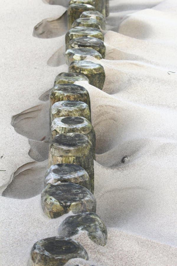 Spiaggia sabbiosa che mostra un frangiflutti e una duna fotografia stock libera da diritti