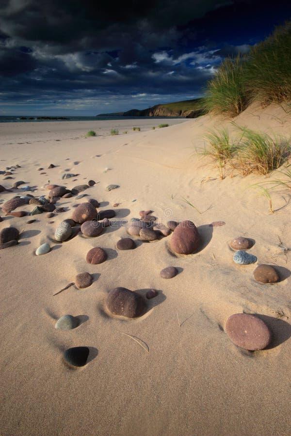 Spiaggia sabbiosa Sunlit con i ciottoli fotografia stock