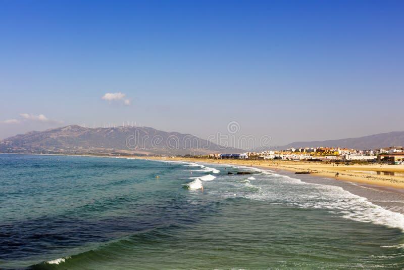 Spiaggia sabbiosa a Tarifa immagini stock