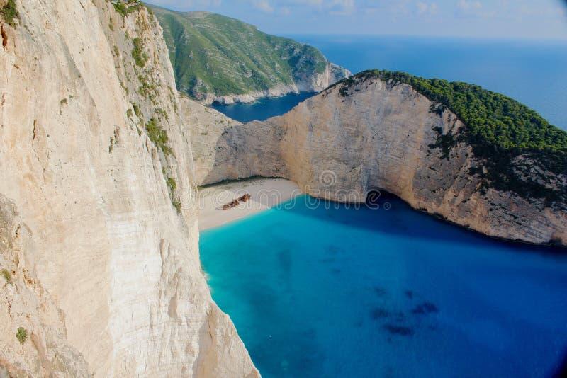 Spiaggia scenica del naufragio di Navagio fotografia stock