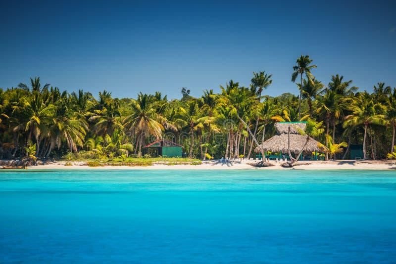 Spiaggia selvaggia caraibica in Punta Cana, Repubblica dominicana immagini stock