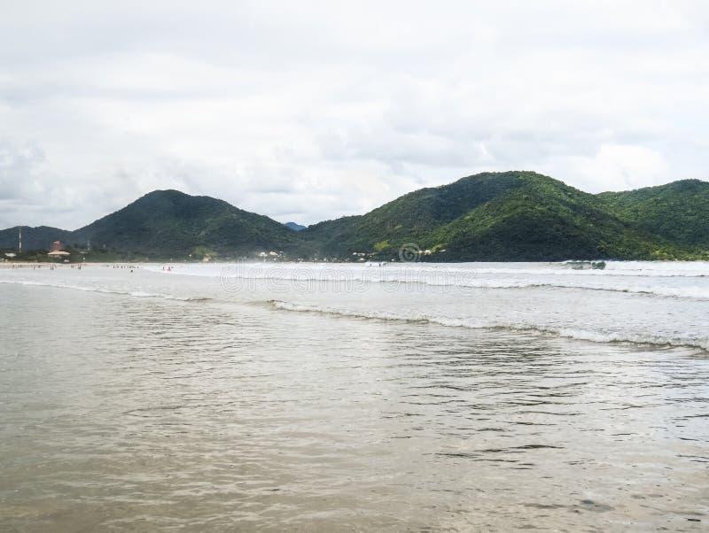 Spiaggia soleggiata con pochi onde e sunbathers fotografia stock libera da diritti