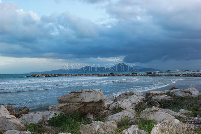 Spiaggia soleggiata Hammamet, Tunisia, mar Mediterraneo fotografie stock