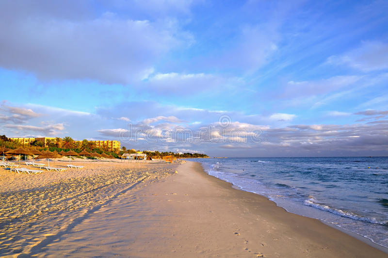 Spiaggia in Sousse, Tunisia fotografia stock libera da diritti