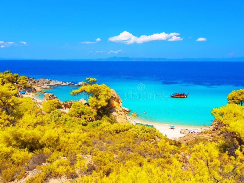 Spiaggia su Halkidiki, Sithonia, Grecia immagini stock