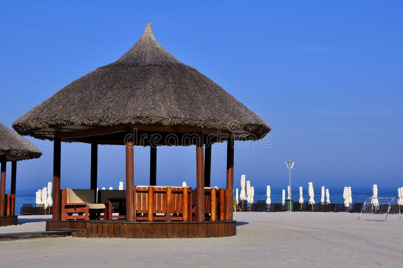 Spiaggia sul litorale del Mar Nero in Romania fotografia stock libera da diritti