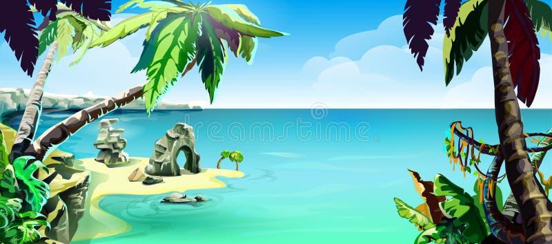 Spiaggia sull'oceano, disegno di vettore per la progettazione di estate illustrazione di stock