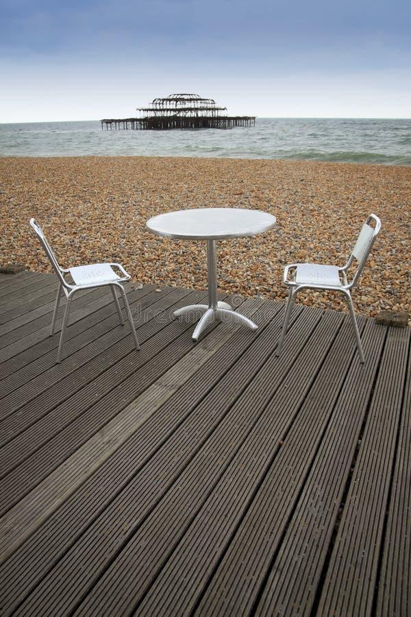 Spiaggia Sussex pranzante esterno Inghilterra di Brighton immagini stock libere da diritti