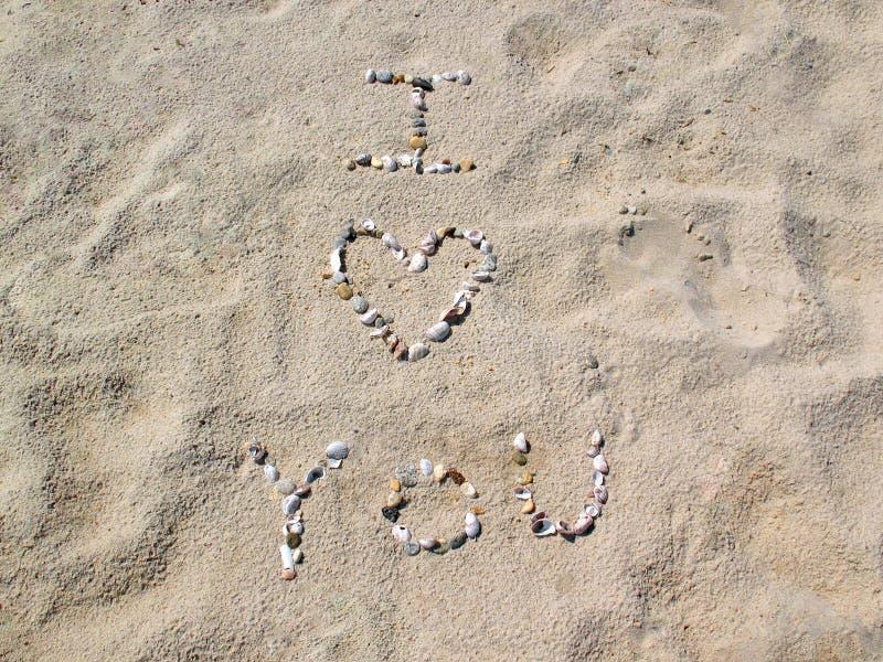 Spiaggia ti amo fotografie stock